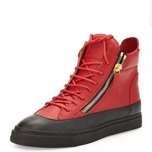 Giuseppe Zanotti Red Black Leather Zip 10